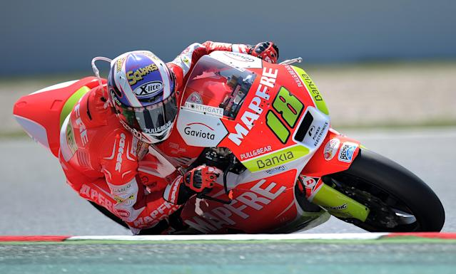 Mafre Aspar Team Spanish Nicolas Terol takes a curve at the Catalunya racetrack in Montmelo, near Barcelona, on June 1, 2012, during the Moto 2 second training session of the Catalunya Moto GP Grand Prix. AFP PHOTO/LLUIS GENELLUIS GENE/AFP/GettyImages