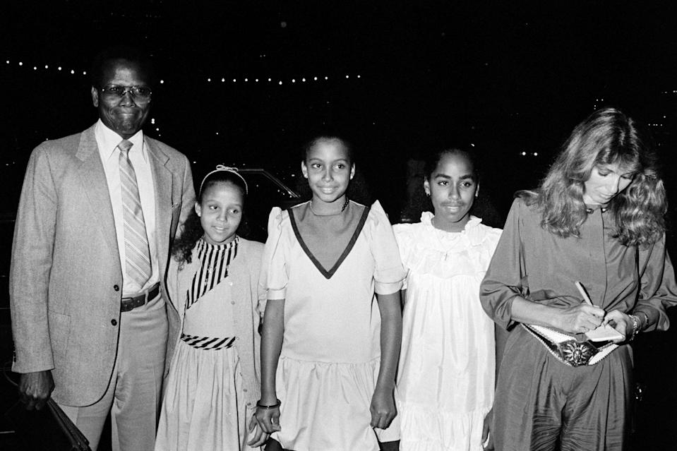 <p>Out with three of his six daughters and wife Joanna Shimkus in New York City in the early 1980s.</p>