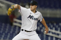 Miami Marlins' starting pitcher Trevor Rogers throws during the first inning of a baseball game against the Washington Nationals, Tuesday, Sept. 21, 2021, in Miami. (AP Photo/Marta Lavandier)