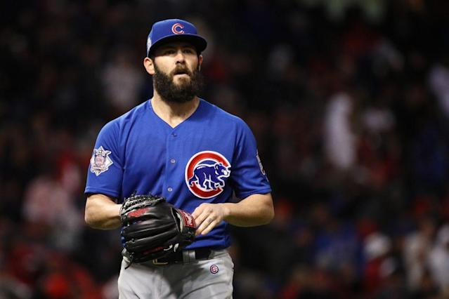 "Will 2017 be <a class=""link rapid-noclick-resp"" href=""/mlb/players/8623/"" data-ylk=""slk:Jake Arrieta"">Jake Arrieta</a>'s final season in a Cubs uniform? (Getty Images)"