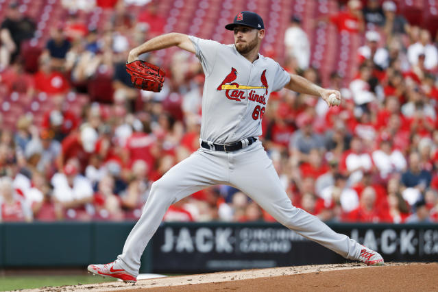 St. Louis Cardinals starting pitcher Austin Gomber throws during the first inning of the team's baseball game against the Cincinnati Reds, Tuesday, July 24, 2018, in Cincinnati. (AP Photo/John Minchillo)