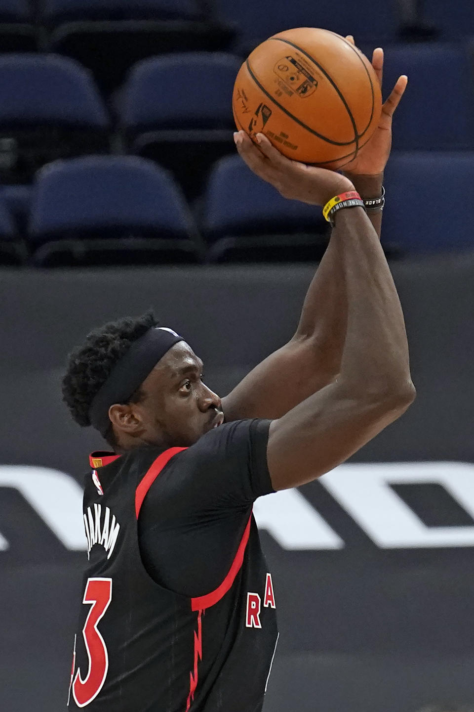 Toronto Raptors forward Pascal Siakam (43) shoots against the Philadelphia 76ers during the second half of an NBA basketball game Sunday, Feb. 21, 2021, in Tampa, Fla. (AP Photo/Chris O'Meara)