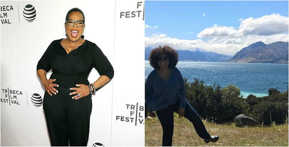 """<p><b>When: February 2017 </b><br>Oprah has been rocking a slicked back, sleek ponytail for so long that we (almost) forgot how gorgeous she looked rocking her natural curls! The Queen of gab is in New Zealand filming """"A Wrinkle in Time,"""" and posted a stunning Instagram photo of her posing in front of the crystal blue Lake Hāwea, in the Otago Region. But really — all people cold comment on was her gorgeous mane of curls!<i> (Photos: Getty/Instagram/February 2017) </i> </p>"""