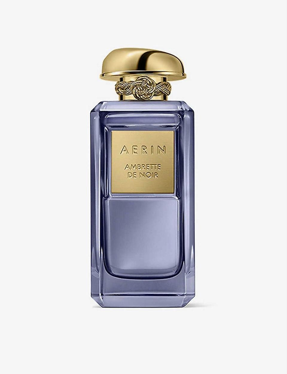 """Aerin's Ambrette de Noir is on the expensive side but we defy anyone to find a perfume as chic (both the bottle and the fragrance inside). At first spritz, this is spicy, warm and comforting thanks to a heavy helping of vanilla bourbon. As the day goes on, those notes give way to sugary nuances, but in a grown-up way. That'll be the rose and tonka, of which anyone with a sweet tooth will approve. <br><br><strong>Aerin</strong> Ambrette de Noir Parfum, $, available at <a href=""""https://www.selfridges.com/GB/en/cat/aerin-ambrette-de-noir-parfum_R03661928/"""" rel=""""nofollow noopener"""" target=""""_blank"""" data-ylk=""""slk:Selfridges"""" class=""""link rapid-noclick-resp"""">Selfridges</a>"""
