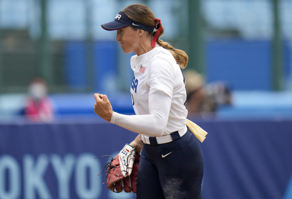 United States' Monica Abbott pitcher react during the softball game between the United States and Canada at the 2020 Summer Olympics, Thursday, July 22, 2021, in Fukushima , Japan. (AP Photo/Jae C. Hong)