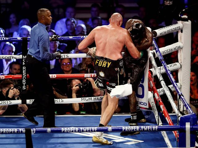 The towel was thrown in by Mark Breland during Tyson Fury's win over Deontay Wilder: EPA