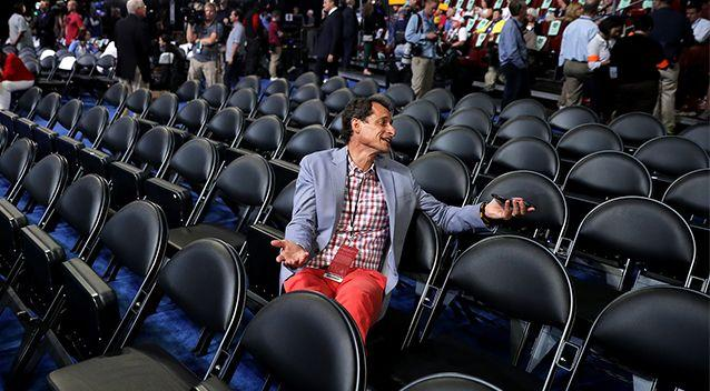 Former New York congressman Anthony Weiner attends the start of the second day of the Democratic National Convention at the Wells Fargo Center on July 26. Photo: Getty Images