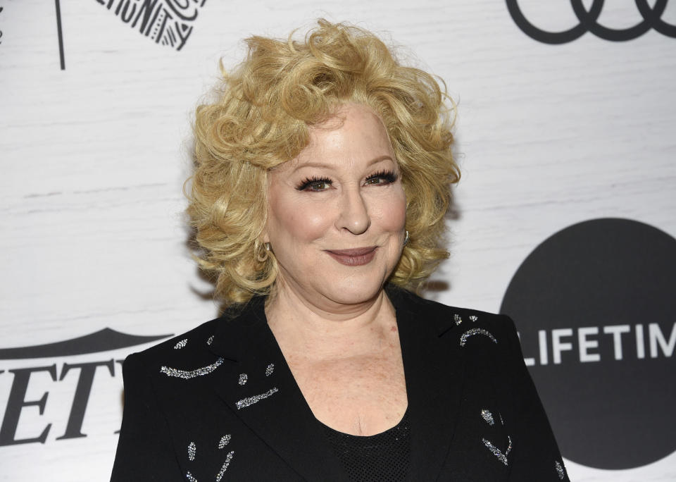 """FILE - In this April 5, 2019, file photo Bette Midler attends Variety's Power of Women: New York in New York. The Kennedy Center Honors is returning in December with a class that includes Motown Records creator Berry Gordy, """"Saturday Night Live"""" mastermind Lorne Michaels and actress-singer Bette Midler. Organizers expect to operate at full capacity, after last year's Honors ceremony was delayed for months and later conducted under intense COVID-19 restrictions. (Photo by Evan Agostini/Invision/AP, File)"""