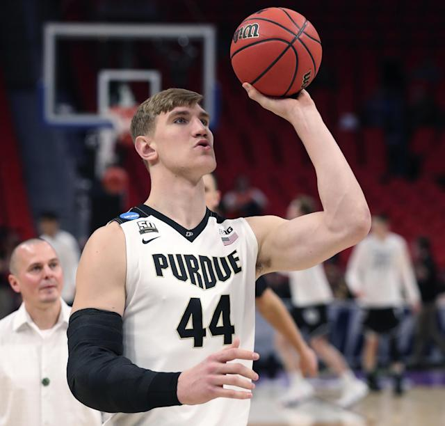 Purdue's Isaac Haas attempts to shoot during a practice for the NCAA tournament. (Getty)