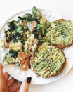 """<p>Hello, no-cook brunch! Gracie Gordon over at the <em>Hungry Blonde</em> had the ingenious idea of steaming broccoli and spinach in the microwave before whisking in two eggs to create an effortless scramble. <a href=""""https://www.goodhousekeeping.com/food-recipes/easy/a30933199/smashed-avocado-toast-with-hard-boiled-eggs-recipe/"""" rel=""""nofollow noopener"""" target=""""_blank"""" data-ylk=""""slk:Paired with avocado toast"""" class=""""link rapid-noclick-resp"""">Paired with avocado toast</a>, this is one hearty breakfast that feels much more sophisticated than it actually is! </p><p><a href=""""https://hungry-blonde.com/easy-go-to-meals/"""" rel=""""nofollow noopener"""" target=""""_blank"""" data-ylk=""""slk:Get the recipe from the Hungry Blonde »"""" class=""""link rapid-noclick-resp""""><em>Get the recipe from the Hungry Blonde »</em></a></p>"""