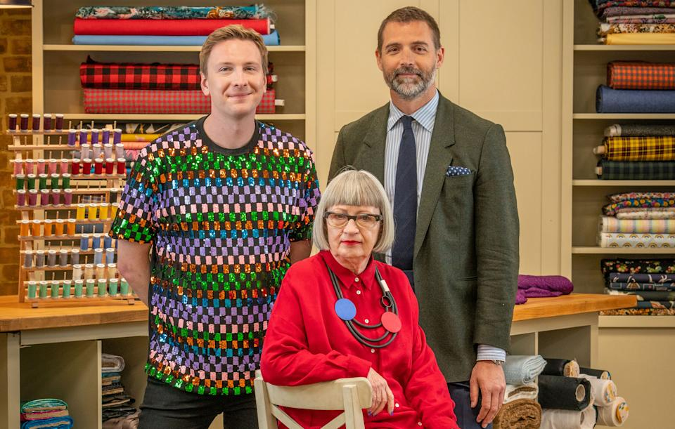 The Great British Sewing Bee returns tonight with Joe Lycett, Esme Young, and Patrick Grant. (BBC/Love Productions/Mark Bourdillon)