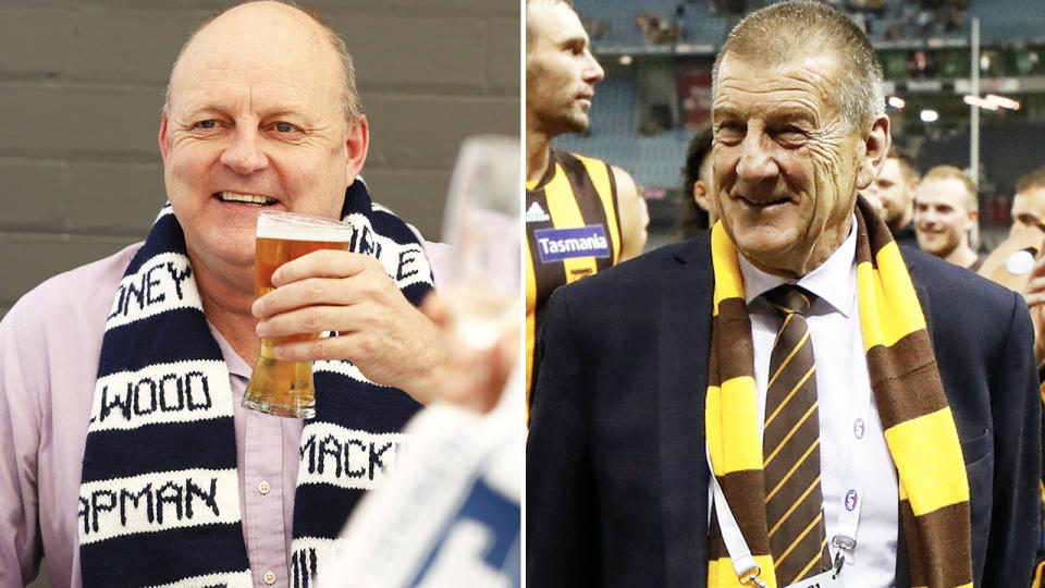 Billy Brownless and Jeff Kennett, pictured here at the AFL.