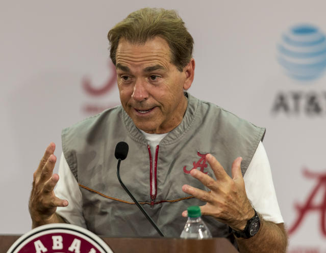 Alabama football coach Nick Saban talks with the media on Thursday, Aug. 24. (AP)