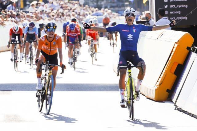 Elisa Balsamo of Italy crosses the finish line ahead of Marianne Vos to win the women's road race at the World Road Cycling Championships