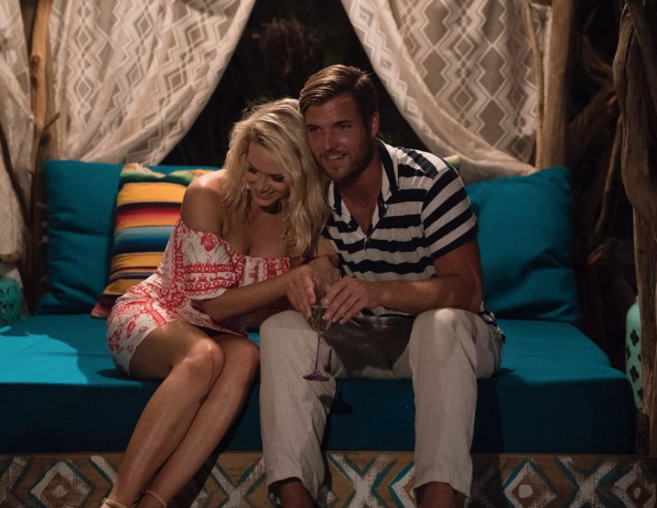 <p>Jenna and Jordan's quirky personalities seemed like a match made in <em>Paradise</em> heaven. By the end of season 5, the couple was engaged and appeared to be riding off into the sunset together—until expletive-laden text messages between Jenna and another man were leaked. Jordan called off the engagement and <em>BiP </em>fans were quick to point fingers.</p>