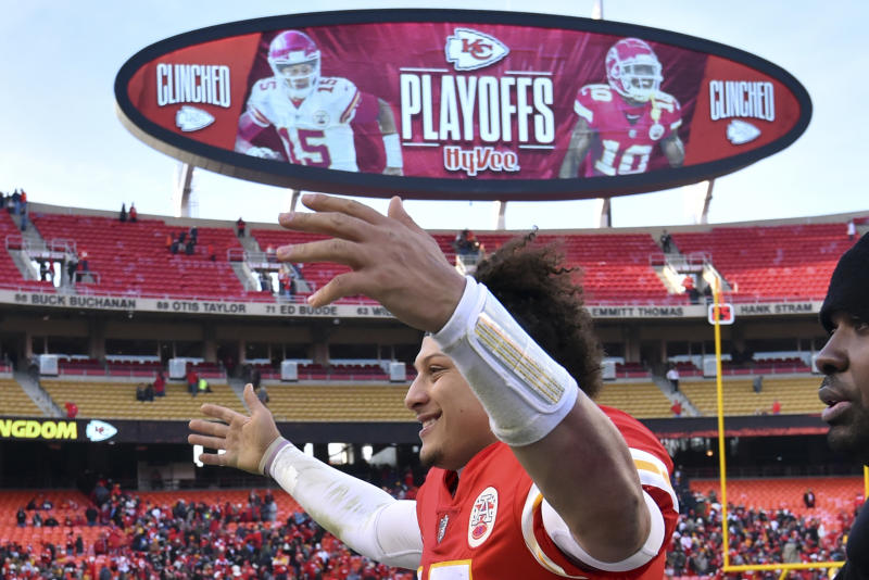 Kansas City Chiefs quarterback Patrick Mahomes won't be playing any more basketball. (AP)