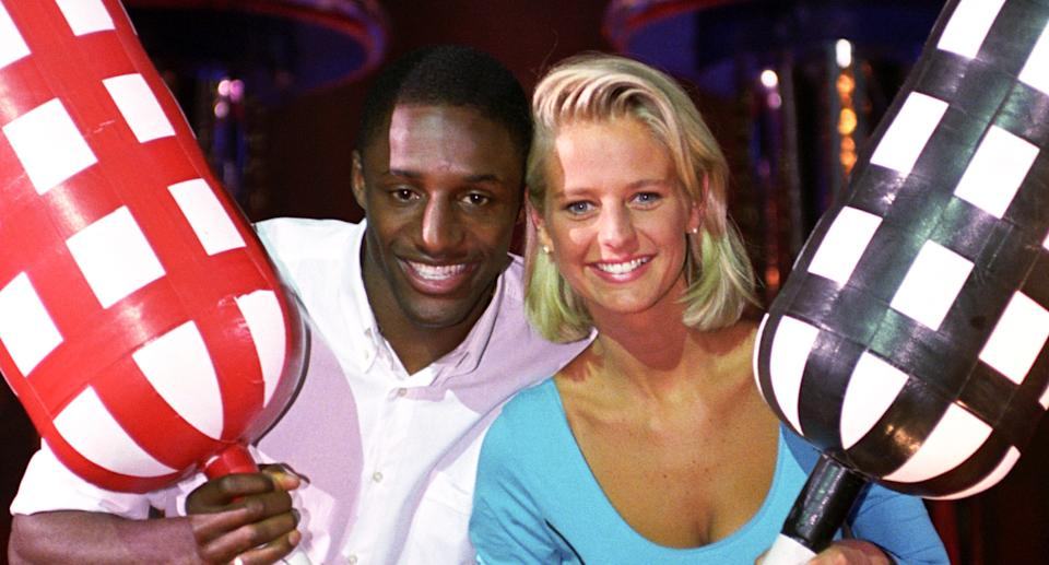 Ulrika Jonsson and John Fashanu hosted Gladiators in its heyday. (Photo by David Jones - PA Images via Getty Images)
