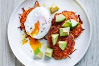 """Breakfast gets much more special if you start with crispy sweet potato pancakes, topped with a <a href=""""https://www.epicurious.com/expert-advice/how-to-poach-an-egg-5-easy-steps-article?mbid=synd_yahoo_rss"""" rel=""""nofollow noopener"""" target=""""_blank"""" data-ylk=""""slk:poached egg"""" class=""""link rapid-noclick-resp"""">poached egg</a> and creamy avocado. You just need a handful of ingredients; you might even already have them all around your house! <a href=""""https://www.epicurious.com/recipes/food/views/sweet-potato-fritters-with-poached-eggs-and-avocado?mbid=synd_yahoo_rss"""" rel=""""nofollow noopener"""" target=""""_blank"""" data-ylk=""""slk:See recipe."""" class=""""link rapid-noclick-resp"""">See recipe.</a>"""