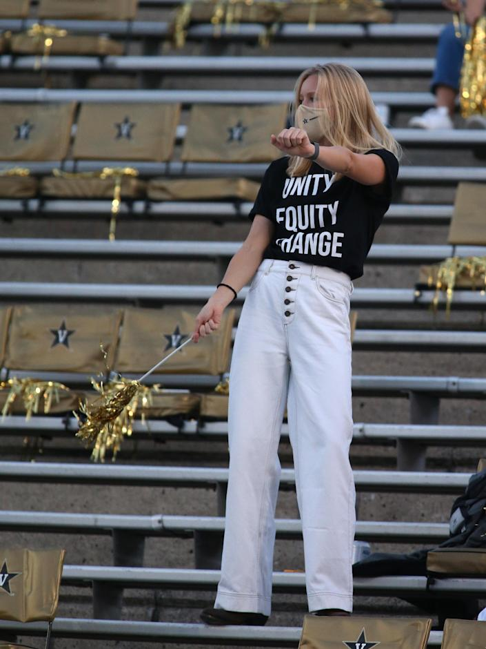NASHVILLE, TN - OCTOBER 03: A Vanderbilt University student wears a t-shirt for unity, equity, and courage, while in attendance at a game between the Vanderbilt Commodores and LSU Tigerson October 3, 2020, at Vanderbilt Stadium in Nashville, Tennessee. (Photo by Matthew Maxey/Icon Sportswire via Getty Images)