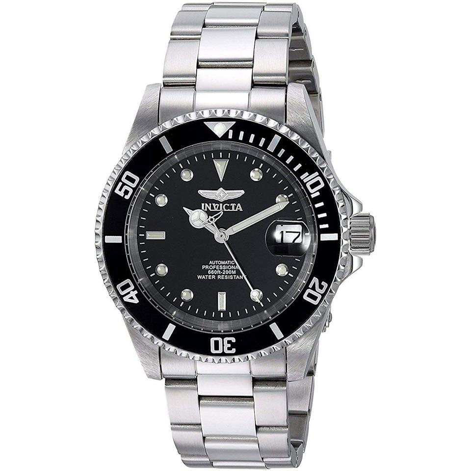 """<p><strong>Invicta</strong></p><p>amazon.com</p><p><a href=""""https://www.amazon.com/dp/B000JQFX1G?tag=syn-yahoo-20&ascsubtag=%5Bartid%7C10054.g.35351418%5Bsrc%7Cyahoo-us"""" rel=""""nofollow noopener"""" target=""""_blank"""" data-ylk=""""slk:Shop Now"""" class=""""link rapid-noclick-resp"""">Shop Now</a></p><p><del>$78.82</del><strong> $55.17 (30% off)</strong></p><p>A just-right diver at a just-right price.</p>"""