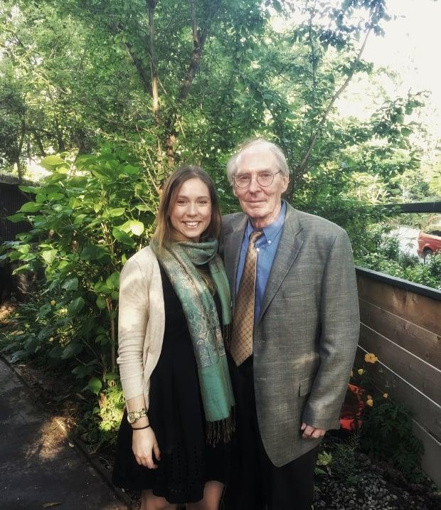 Shelley Kayra, pictured with her 85-year-old father, Jim, before the pandemic, says she hasn't been able to visit him at his Fraser Valley care home since visitation restrictions were introduced in March 2020.  (Submitted by Shelley Kayra - image credit)