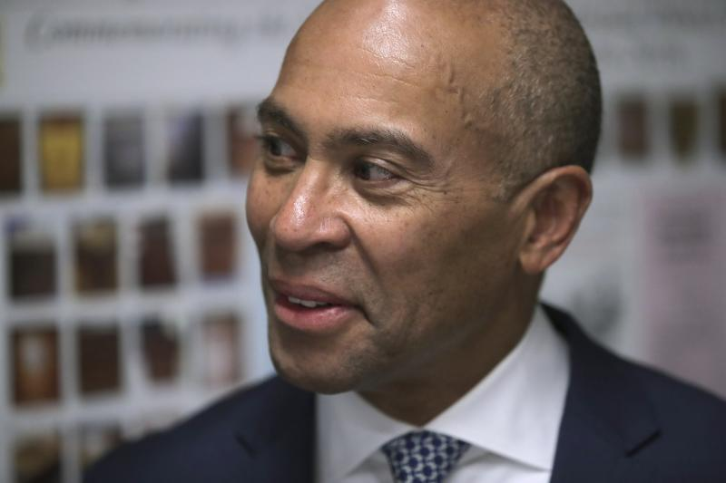 Democratic presidential candidate former Massachusetts Gov. Deval Patrick files to have his name listed on the New Hampshire primary ballot, Thursday, Nov. 14, 2019, in Concord, N.H. (AP Photo/Charles Krupa)