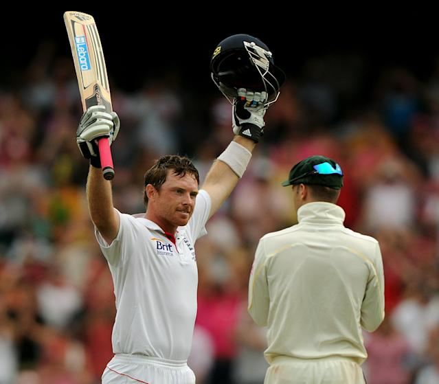 England batsman Ian Bell raises his arms after reaching his century on day three of the fifth Ashes cricket Test against Australia at the Sydney Cricket Ground on January 5, 2011. England were 478-6 topping Australia's first innings total of 280. IMAGE STRICTLY RESTRICTED TO EDITORIAL USE - STRICTLY NO COMMERCIAL USE AFP PHOTO / Greg WOOD (Photo credit should read GREG WOOD/AFP/Getty Images)