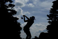 Albane Valenzuela, of Switzerland, hits from the 12th tee during a practice round prior to the women's golf event at the 2020 Summer Olympics, Monday, Aug. 2, 2021, at the Kasumigaseki Country Club in Kawagoe, Japan. (AP Photo/Matt York)