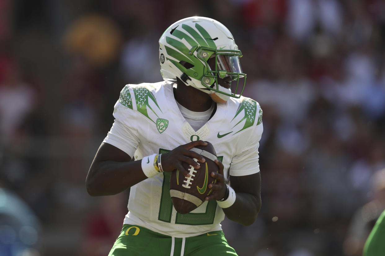 Oregon's Anthony Brown throws against Stanford during the first half of an NCAA college football game in Stanford, Calif., Saturday, Oct. 2, 2021. (AP Photo/Jed Jacobsohn)