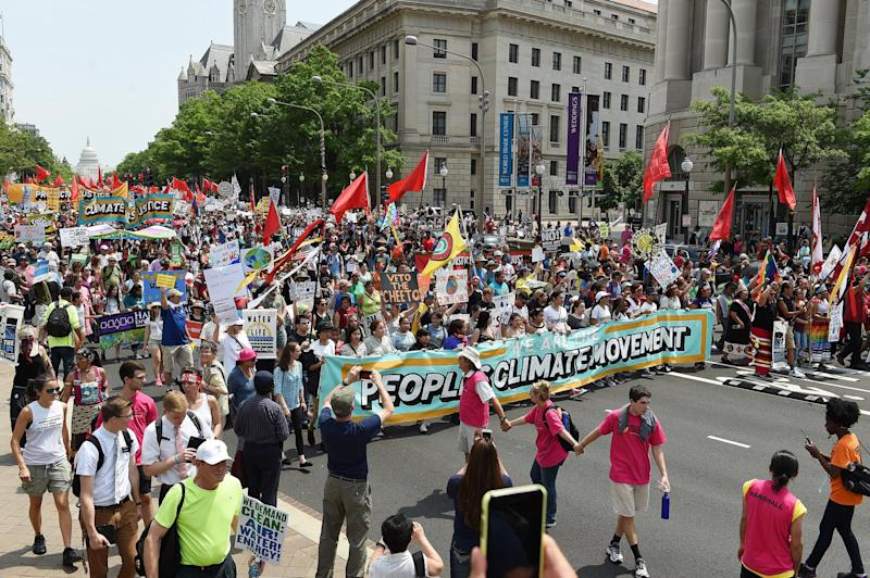 Thousands marched in the capital and across the US, demanding a clean environment: Getty