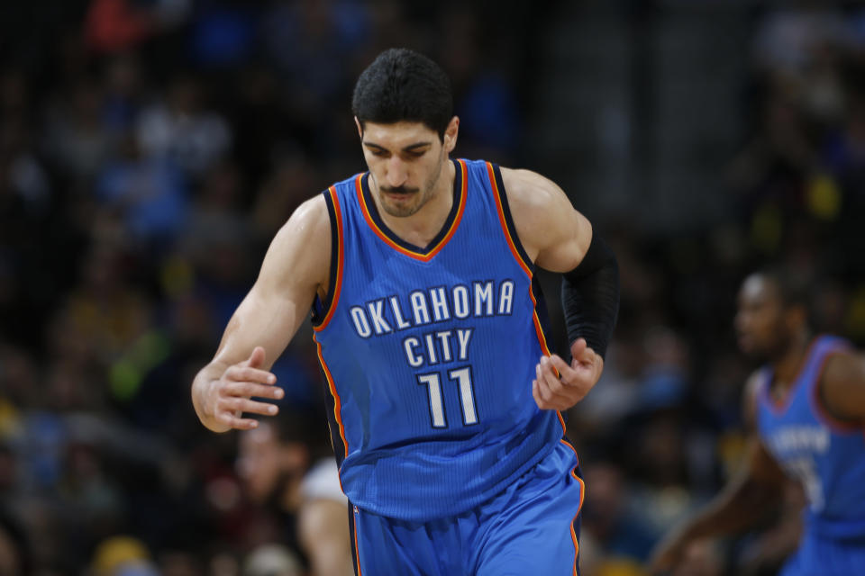 Enes Kanter's political beliefs and affiliation have put him at odds with Turkey's government. (AP Photo/David Zalubowski)