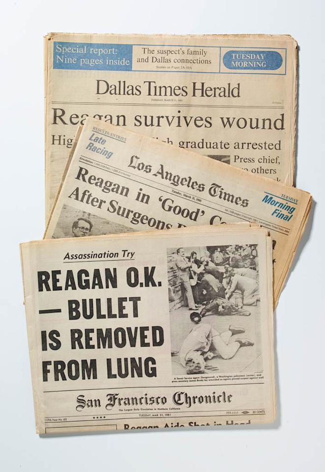 Headlines following the shooting of President Regan.
