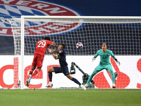 Coman fires home a header across goal (Getty Images)