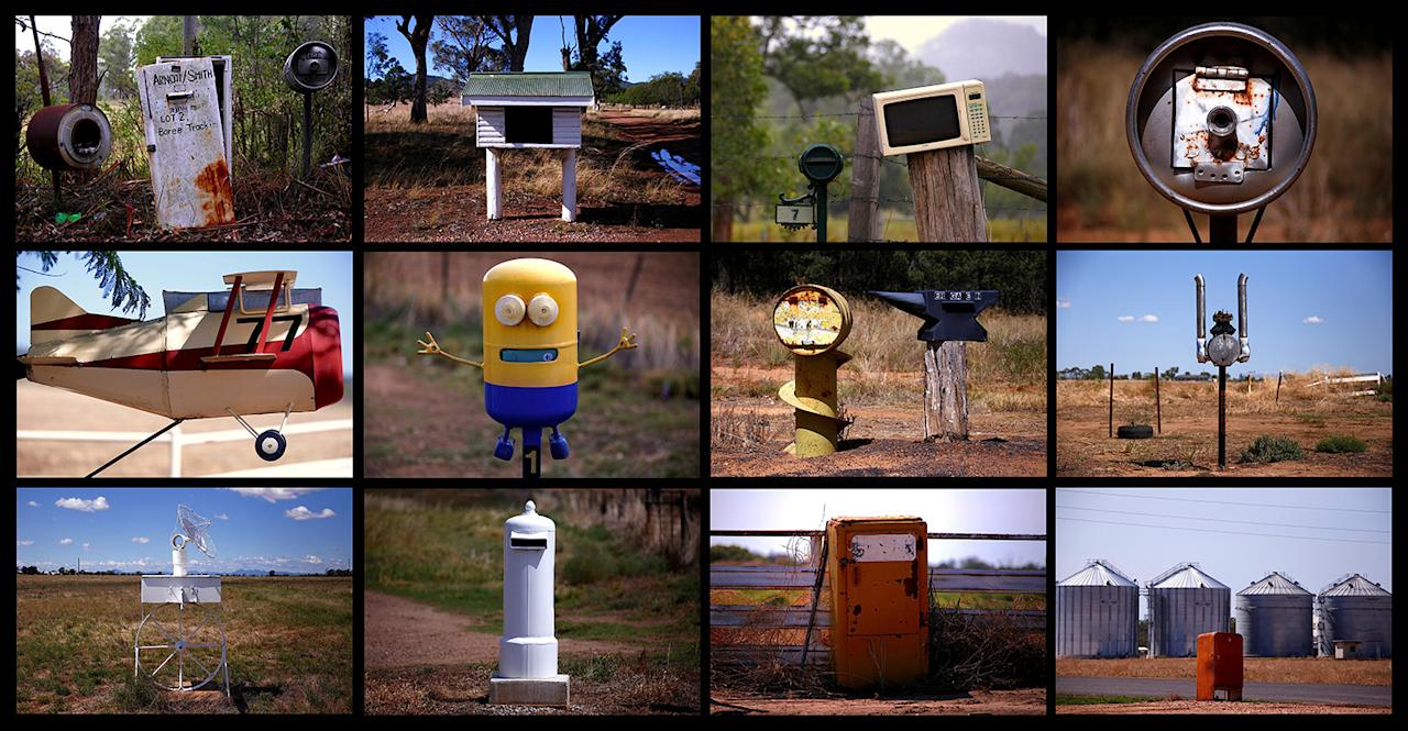 <p>A composite photo shows a variety of unconventional mailboxes — including old washing machines, refrigerators, car engines, beer kegs, and even a microwave — found along roads in rural areas of New South Wales, north of Sydney, Australia. (Photo: David Gray/Reuters) </p>