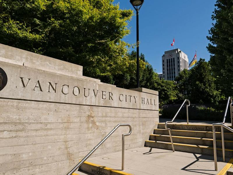 The entrance to Vancouver City Hall on July 4, 2017.