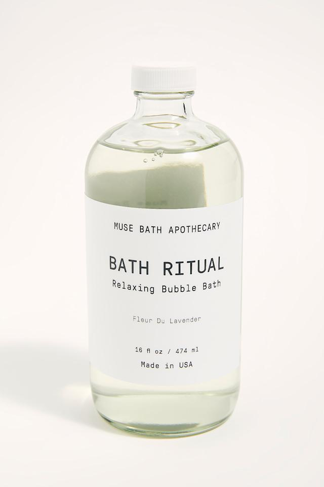 "<p><strong>Muse Bath Apothecary</strong></p><p>freepeople.com</p><p><strong>$26.00</strong></p><p><a href=""https://go.redirectingat.com?id=74968X1596630&url=https%3A%2F%2Fwww.freepeople.com%2Fshop%2Fmuse-bath-ritual-bubble-bath%2F&sref=http%3A%2F%2Fwww.harpersbazaar.com%2Fbeauty%2Fskin-care%2Fadvice%2Fg3251%2Fbubble-bath-products%2F"" target=""_blank"">Shop Now</a></p><p>The lavender scent is clean and soothing, and the pretty, minimalist bottle makes it totally gift-worthy.</p>"