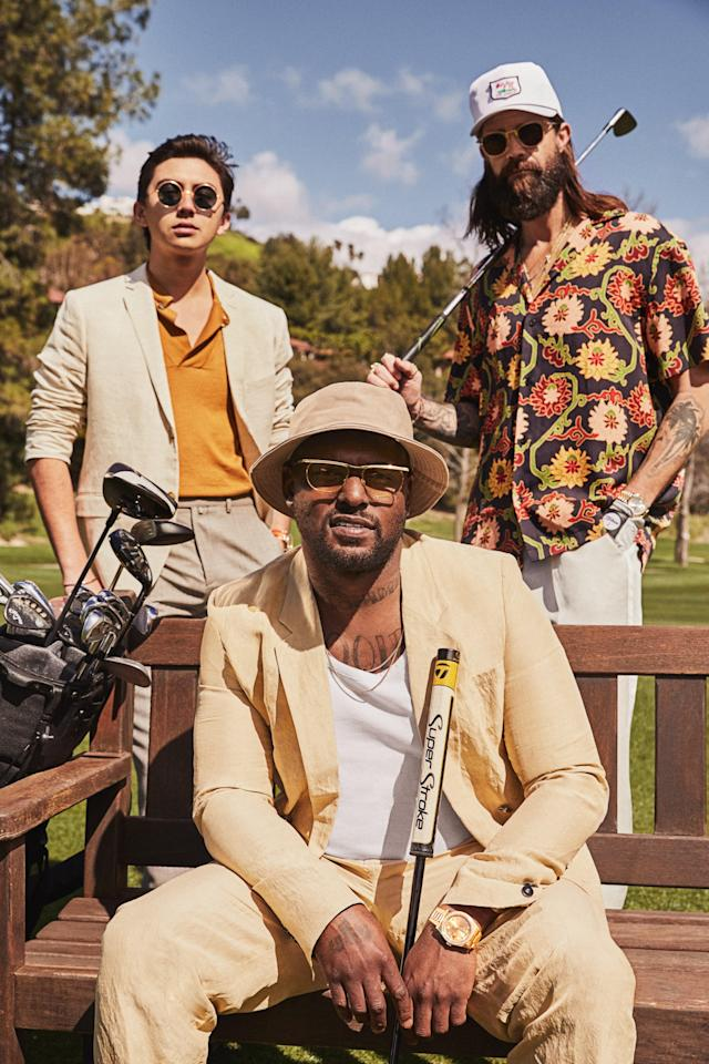 """<cite class=""""credit""""><em>Clockwise from top left</em> <strong>On Cole Young:</strong> Blazer, $80, by H&M / Polo shirt, $425, by Canali / Pants, (price upon request), by Givenchy / Sunglasses, $490, by Ahiem 