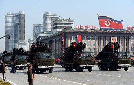 Mutliple launch rocket systems are displayed in Pyongyang