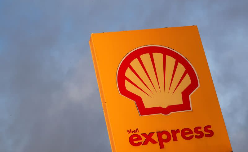 FILE PHOTO: The logo of Royal Dutch Shell is seen at a petrol station in Sint-Pieters-Leeuw