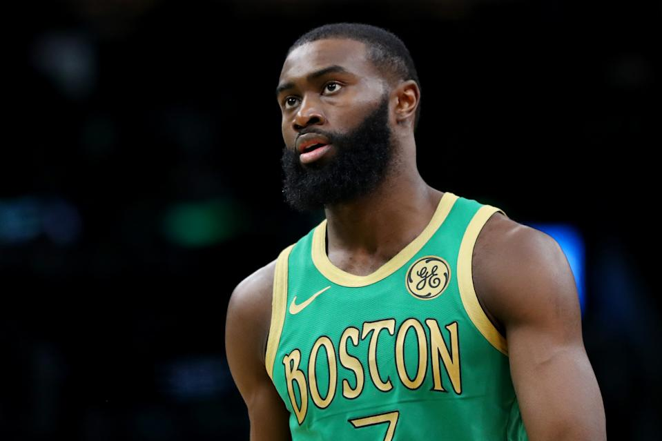 BOSTON, MASSACHUSETTS - DECEMBER 12: Jaylen Brown #7 of the Boston Celtics looks on during the game against the Philadelphia 76ers at TD Garden on December 12, 2019 in Boston, Massachusetts.  The 76ers defeat the Celtics 115-109. NOTE TO USER: User expressly acknowledges and agrees that, by downloading and or using this photograph, User is consenting to the terms and conditions of the Getty Images License Agreement.  (Photo by Maddie Meyer/Getty Images)