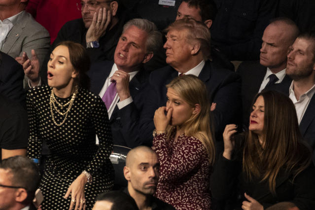 President Donald Trump and House Minority Leader Kevin McCarthy, of California, look on during UFC 244 at Madison Square Garden, Saturday, Nov. 2, 2019, in New York. (AP Photo/ Evan Vucci)