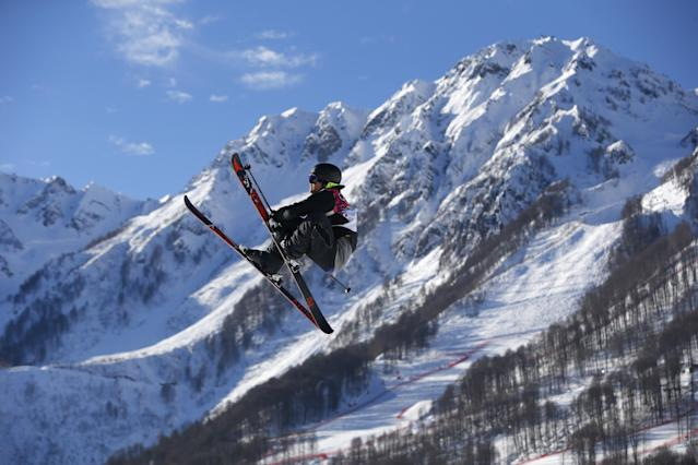CORRECTS SKIER TO NORWAY'S ANDREAS HAATVEIT INSTEAD OF NEW ZEALAND'S JOSIAH WELLS - Norway's Andreas Haatveit competes in the men's ski slopestyle qualifying at the Rosa Khutor Extreme Park, at the 2014 Winter Olympics, Thursday, Feb. 13, 2014, in Krasnaya Polyana, Russia. (AP Photo/Sergei Grits)