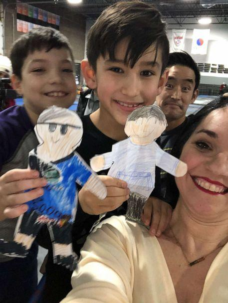 PHOTO: Heather May, a teacher from Wisconsin, is seen in an undated photo wit hher son William, 8, actor Mike Moh and his son Chase. (Heather May )