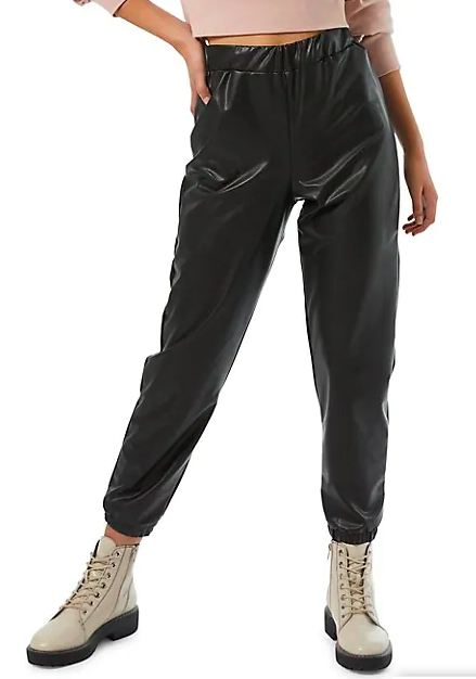 Miss Selfridge Faux-Leather Elastic Joggers (Photo via Hudson's Bay)