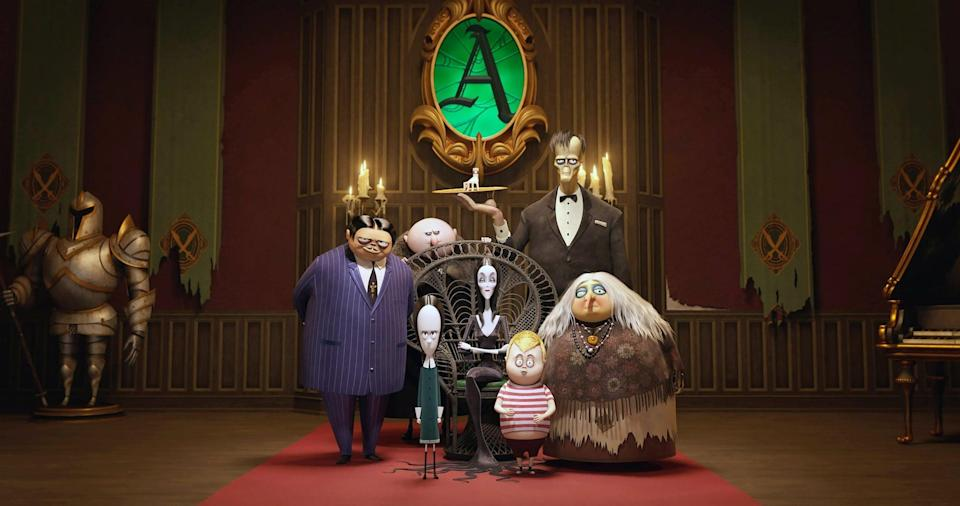 """<p><strong>Hulu's Description:</strong> """"Members of the mysterious and spooky Addams family -- Gomez, Morticia, Pugsley, Wednesday, Uncle Fester and Grandma -- are readily preparing for a visit from their even creepier relatives. But trouble soon arises when shady TV personality Margaux Needler realizes that the Addams' eerie hilltop mansion is standing in the way of her dream to sell all the houses in the neighborhood.""""</p> <p><span>Stream <strong>The Addams Family</strong> on Hulu!</span></p>"""