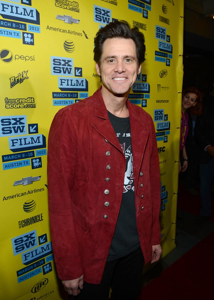 "AUSTIN, TX - MARCH 08:  Actor Jim Carrey arrives at the screening of ""The Incredible Burt Wonderstone"" during the 2013 SXSW Music, Film + Interactive Festival  at the Paramount Theatre on March 8, 2013 in Austin, Texas.  (Photo by Michael Buckner/Getty Images)"