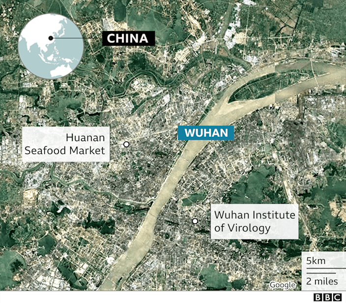 Map showing location of Wuhan Institute of Virology in Wuhan city