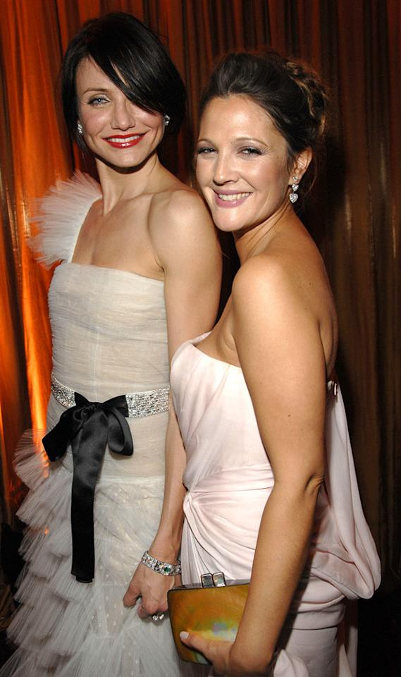 "Cameron Diaz and Drew Barrymore, who first met when they were teens, serve as each other's dates at the InStyle/Warner Bros. Golden Globes after party. Kevin Mazur/<a href=""http://www.wireimage.com"" target=""new"">WireImage.com</a> - January 15, 2007"