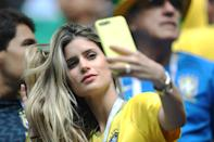 <p>Fans are seen during the 2018 FIFA World Cup Russia group E match between Brazil and Costa Rica at Saint Petersburg Stadium on June 22, 2018 in Saint Petersburg, Russia. (Photo by Ian MacNicol/Getty Images) </p>