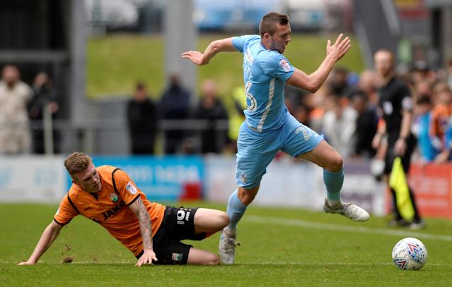 "Soccer Football - League Two - Barnet vs Coventry City - The Hive, London, Britain - October 7, 2017 Coventry City's Jordan Shipley is fouled by Barnet's Harry Taylor Action Images/Adam Holt EDITORIAL USE ONLY. No use with unauthorized audio, video, data, fixture lists, club/league logos or ""live"" services. Online in-match use limited to 75 images, no video emulation. No use in betting, games or single club/league/player publications. Please contact your account representative for further details."